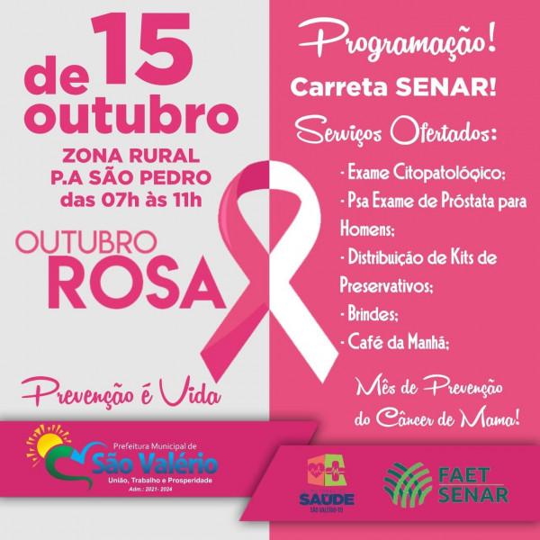 Prefeitura em Parceria com o Sistema FAET/SENAR Realizam Programação do Outubro Rosa no Município.