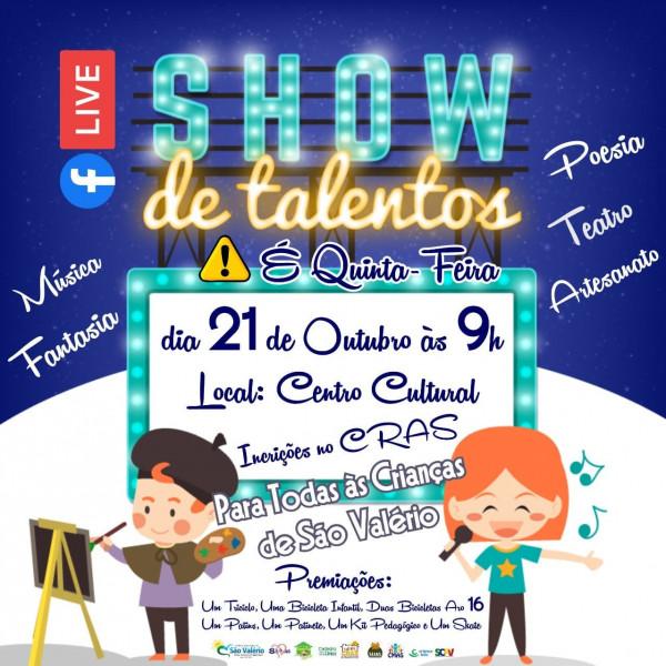 Secretaria da Assistência Social Realiza Live Show de Talentos na Programação do Mês das Crianças do CRAS.
