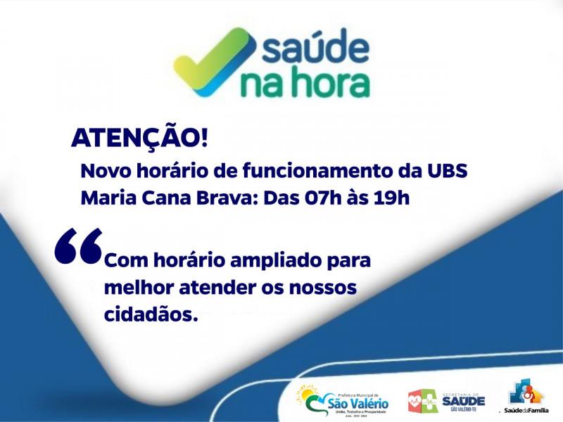 Secretaria de Saúde Anuncia Novo Horário de Funcionamento da UBS de São Valério.