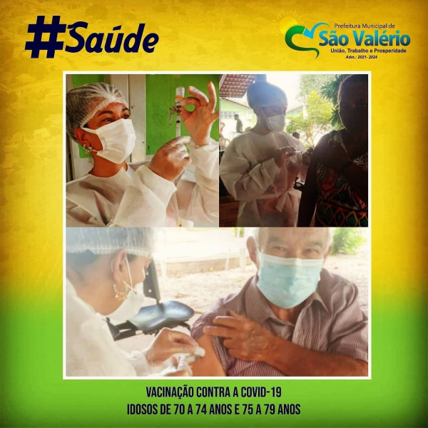 Vacinação Contra a Covid-19 em São Valério Atende Idosos de 70 a 74 anos e 75 a 79 anos!