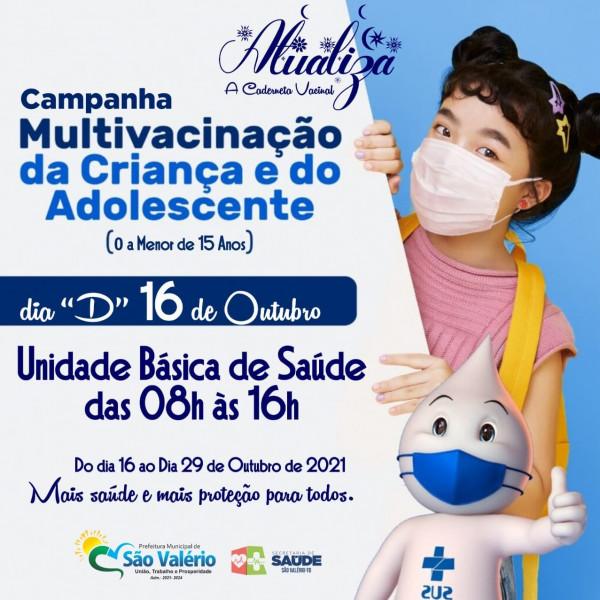 """Secretaria de Saúde Realiza Dia """"D"""" de Multivacinação para Crianças e Adolescentes!"""