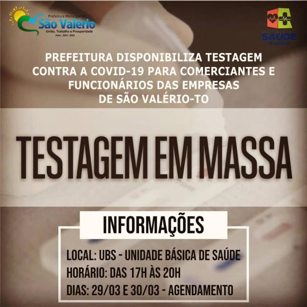 Prefeitura Disponibiliza Testagem em Massa para Comerciantes e Funcionários Contra a Covid-19.