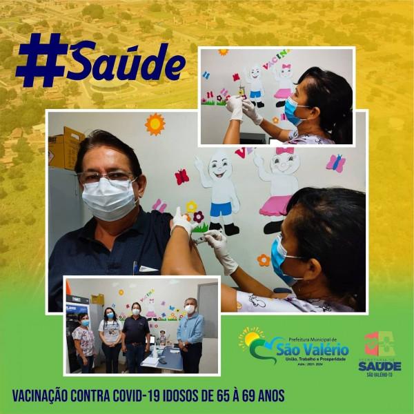 Vacinação Contra a Covid-19 em São Valério Atende Idosos de 65 a 69 Anos.