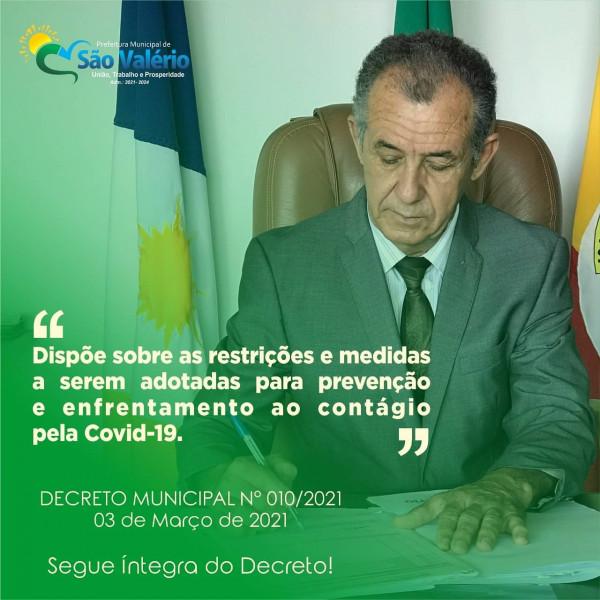 Decreto Municipal Nº 010/2021 de 03 de março de 2021